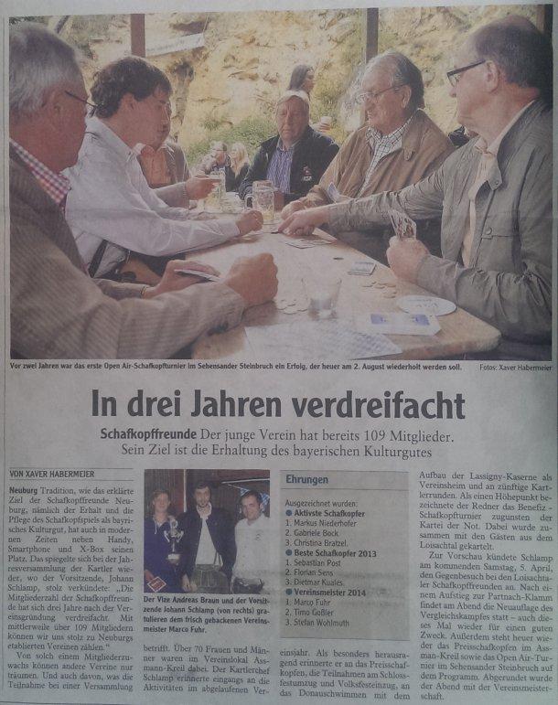 Zeitungsartikel der Neuburger Rundschau (01.04.2014)