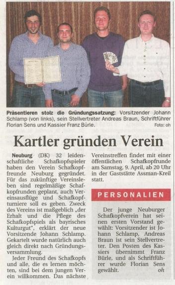 Zeitungsartikel im Donaukurier (02.04.2011)