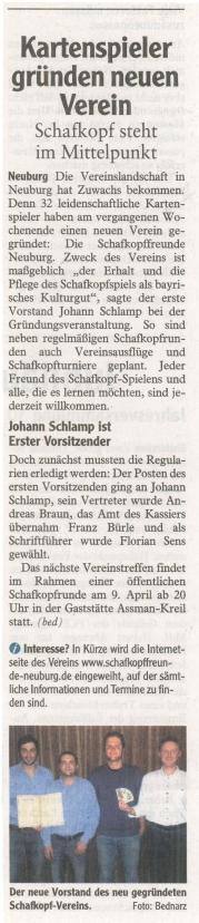 Zeitungsartikel der Neuburger Rundschau (02.04.2011)