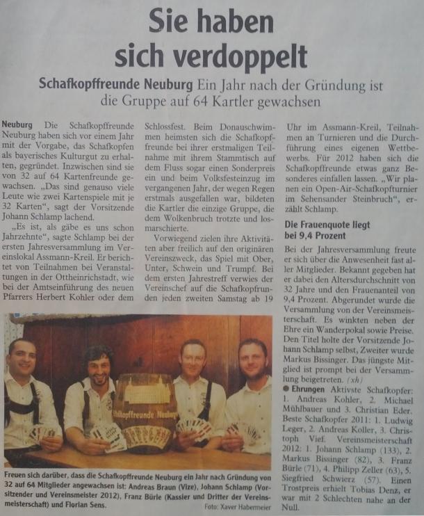 Zeitungsartikel der Neuburger Rundschau (15.03.2012)